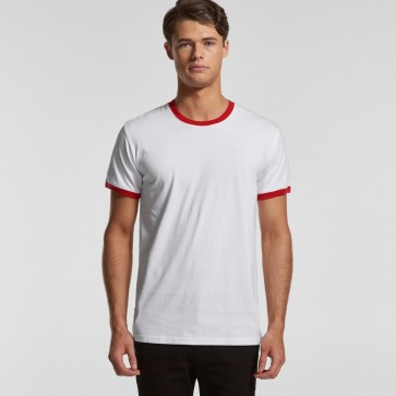 AS Colour Men's Ringer Tee - White Red Front
