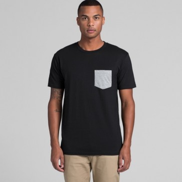 AS Colour Men's Staple Pocket Tee - Black Grey Marle Model Front