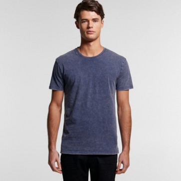 AS Colour Men's Stone Wash Staple Tee - Blue Stone Model Front