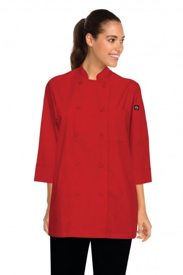 Chef Works Morocco 3/4 Sleeve Chef Jacket - Red Front