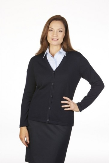 MTF Ladies Long Sleeve V Neck Cardigan - Black