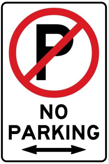 NO PARKING Arrow 2 Way 300 x 225mm Metal