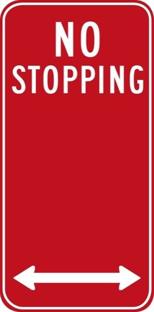 No Stopping Sign 300 x 225mm Metal