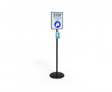 Metal Floor Stand with Bottle Holder & A4 Frame Display
