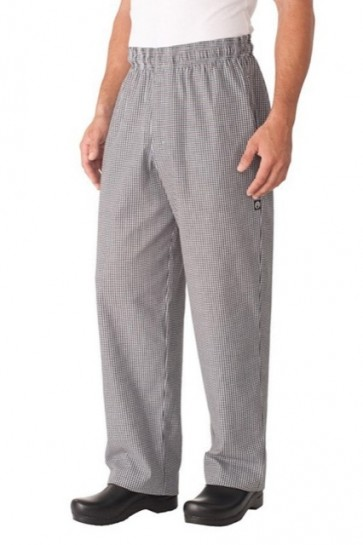 Chef Works Small Check Baggy Pants w/ Zipper Fly