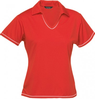 Stencil Ladies Short Sleeve Cool Dry Polo - Red White