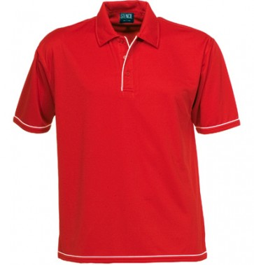 Stencil Mens Short Sleeve Cool Dry Polo - Red White