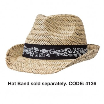 Straw Fedora Hat - Hat Band Sold Separately SKU: 4136