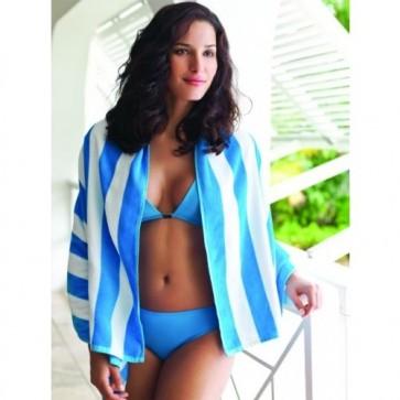 Havana Stripe Beach Towel - Aqua Model
