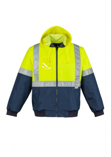 Syzmik HI Vis Quilted Flying Jacket Yellow Navy