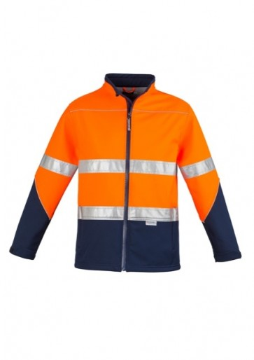 Syzmik HV DN Unisex Soft Shell Jacket - Orange Navy Front