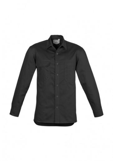 Syzmik Mens Lightweight Long Sleeve Tradie Shirt - Black Front