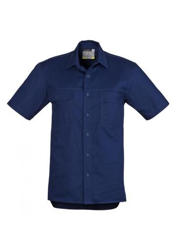 Syzmik Mens Light Weight Short Sleeve Tradie Shirt - Blue