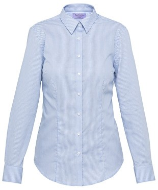 Van Heusen Womens Classic Fit Long Sleeve Cotton Polyester Yarn Dyed Stripe Shirt - Blue