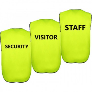 BH Wear Hi Vis Day Vest - Pre Printed STAFF - SECURITY - VISITOR