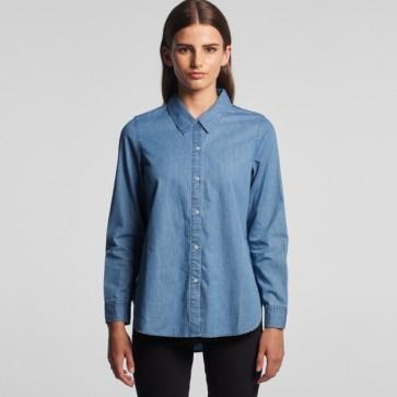AS Colour WO's Blue Denim Shirt - Model Front
