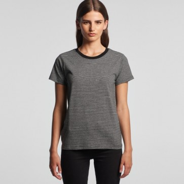 AS Colour WO's Line Stripe Tee - Grey Marle Black Model Front