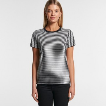 AS Colour Woman's Bowery Stripe Tee - Black Natural Model Front