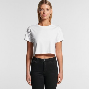AS Colour Women's Crop Tee - White Model Front