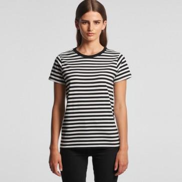 AS Colour WO's Maple Stripe Tee - Black White Model Front