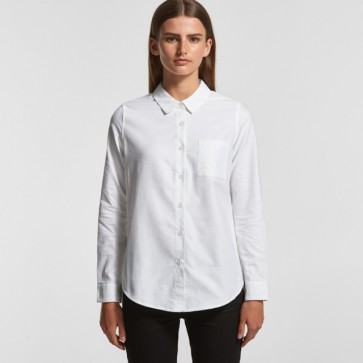 AS Colour Woman's Oxford Shirt - White Model Front