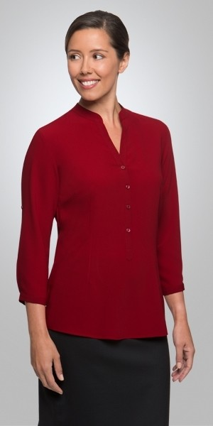 City Collection Women's Easy 3 Qtr Sleeve Shirt - Red