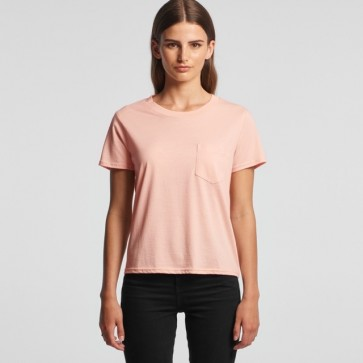 AS Colour WO's Square Pocket Tee - Pale Pink Model Front