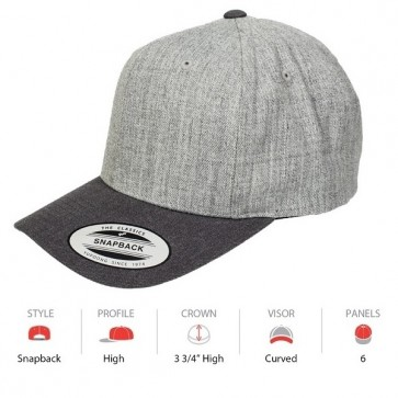 Yupoong Classic Snapback Curved - Heather Grey Charcoal Grey Cap Key