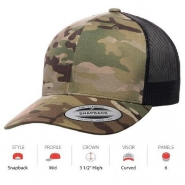 Yupoong Classic Retro Trucker Multicam - Green Camo Black Mesh Cap Key