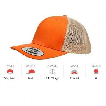 Yupoong Classic Retro Trucker - Rust Orange Khaki Cap Key