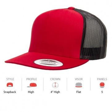 Yupoong Classic Truckers - Red Black Cap Key