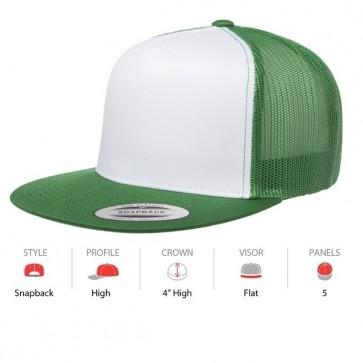 Yupoong Classic Truckers Flat Peak - Green White Cap Key