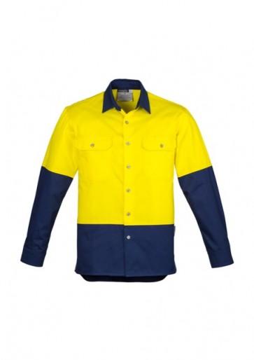 ZW122 Mens Hi Vis Spliced Industrial Shirt Yellow Navy Front