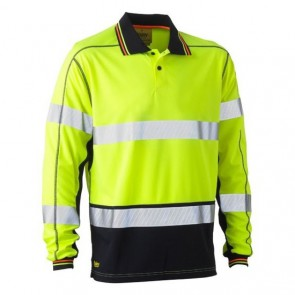 Bisley 3M Taped Hi Vis Two Tone Polyester Mesh Polo Shirt Long Sleeve