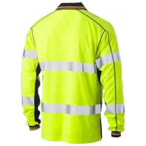 Bisley 3M Taped Hi Vis Two Tone Polyester Mesh Polo Shirt Long Sleeve