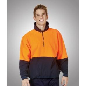 Hi Vis Polar Fleece Jumper - Model Orange Navy