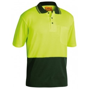 Bisley 2 Tone Hi Vis Polo Shirt Short Sleeve - Yellow Bottle Front