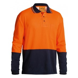 Bisley 2 Tone Hi Vis Polo Shirt Long Sleeve - Orange Navy