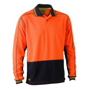 Bisley 2 Tone Hi Vis Polyester Mesh Polo Shirt Long Sleeve - Orange Navy Front