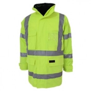 DNC Hi Vis 6 in 1 Breathable Rain Jacket Biomotion - Yellow