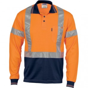 DNC Hi Vis Cool-Breathe Polo Shirt With Cross Back R/Tape - Long Sleeve