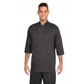 Chef Works 3/4 Sleeve Chef Shirt - Black Front