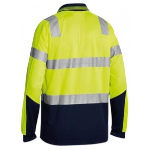 Bisley 3M Taped Hi Vis Two Tone Micromesh Polo Shirt Long Sleeve