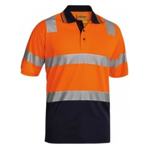Bisley 3M Taped Hi Vis Two Tone Micromesh Polo Shirt Short Sleeve - Orange Navy Front