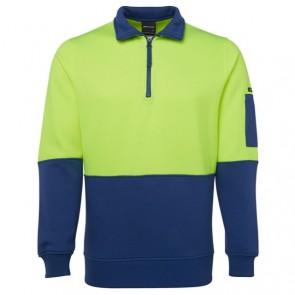 JB's Wear Hi Vis 1/2 Zip Fleecy Sweat - Lime Royal