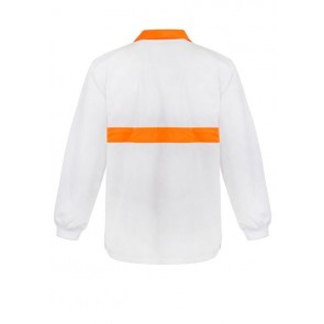 Work Craft Food Industry Jac Shirt with Contrast Collar and Chest Band Long Sleeve