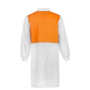 Work Craft Food Industry Dustcoat with Contrast Collar, Chest Band, Internal Patch Pockets Long Sleeve