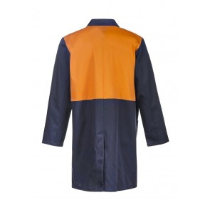 Work Craft Hi Vis Two Tone Dustcoat with Patch Pockets Long Sleeve