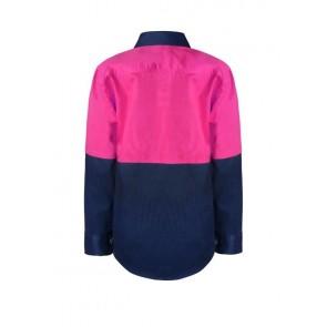Work Craft Kids Hi Vis Lightweight Two Tone Long Sleeve Cotton Drill Shirt