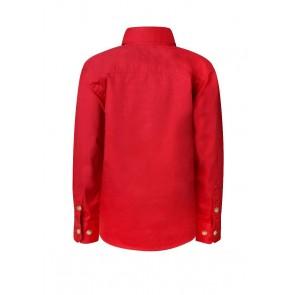 Work Craft Kids Lightweight Long Sleeve Half Placket Cotton Drill Shirt with Contrast Buttons